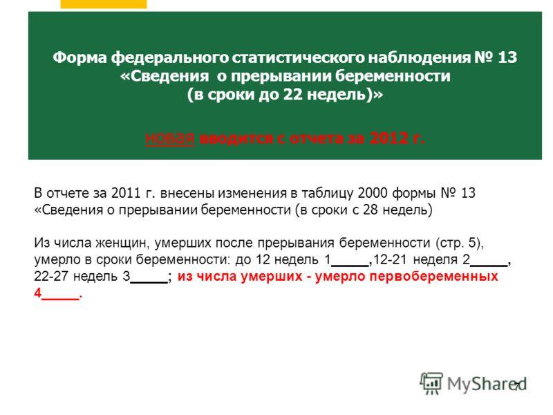 7 Заболеваемость и контингенты больных злокачественными новообразованиями по субъектам Российской Федерации Форма федерального статистического наблюдения 13 «Сведения о прерывании беременности (в сроки до 22 недель)» новая вводится с отчета за 2012 г