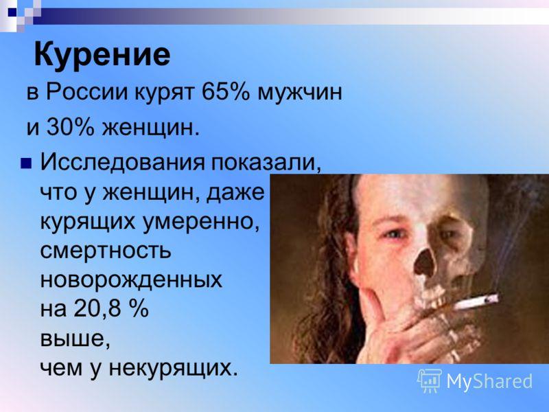 Курение в России курят 65% мужчин и 30% женщин. Исследования показали, что у женщин, даже курящих умеренно, смертность новорожденных на 20,8 % выше, чем у некурящих.
