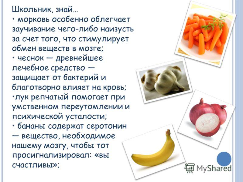 Школьник, знай… морковь особенно облегчает заучивание чего-либо наизусть за счет того, что стимулирует обмен веществ в мозге; чеснок древнейшее лечебное средство защищает от бактерий и благотворно влияет на кровь; лук репчатый помогает при умственном