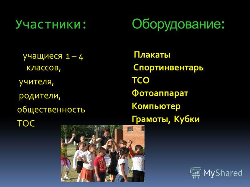 Участники: Оборудование: учащиеся 1 – 4 классов, учителя, родители, общественность ТОС Плакаты Спортинвентарь ТСО Фотоаппарат Компьютер Грамоты, Кубки