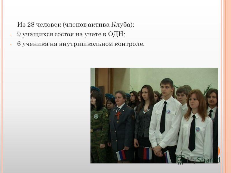 Из 28 человек (членов актива Клуба): - 9 учащихся состоя на учете в ОДН; - 6 ученика на внутришкольном контроле.
