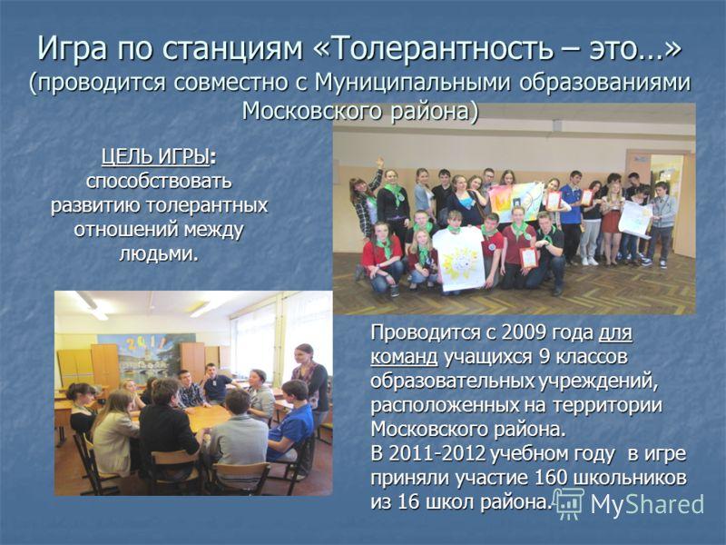 Игра по станциям «Толерантность – это…» (проводится совместно с Муниципальными образованиями Московского района) ЦЕЛЬ ИГРЫ: способствовать развитию толерантных отношений между людьми. Проводится с 2009 года для команд учащихся 9 классов образовательн