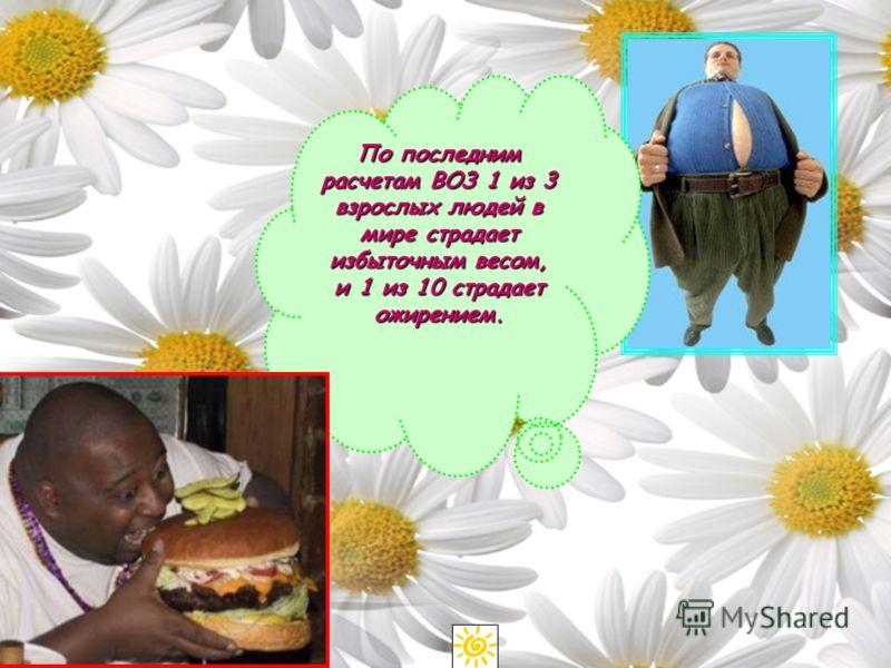 По последним расчетам ВОЗ 1 из 3 взрослых людей в мире страдает избыточным весом, и 1 из 10 страдает ожирением.
