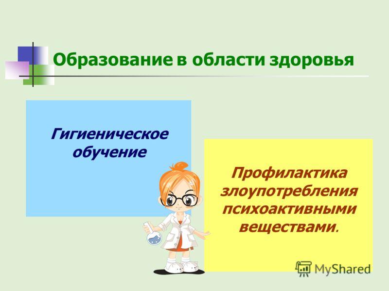 Образование в области здоровья Профилактика злоупотребления психоактивными веществами. Гигиеническое обучение