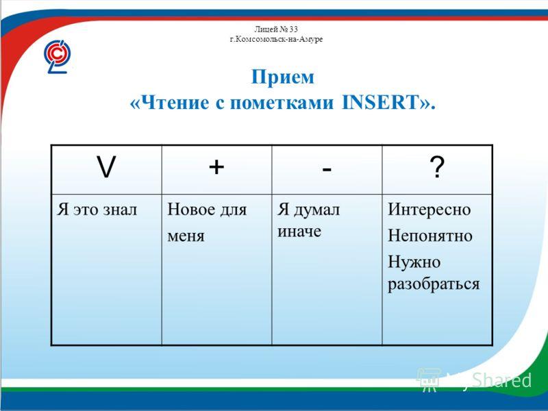 Лицей 33 г.Комсомольск-на-Амуре V+-? Я это зналНовое для меня Я думал иначе Интересно Непонятно Нужно разобраться Прием «Чтение с пометками INSERT».