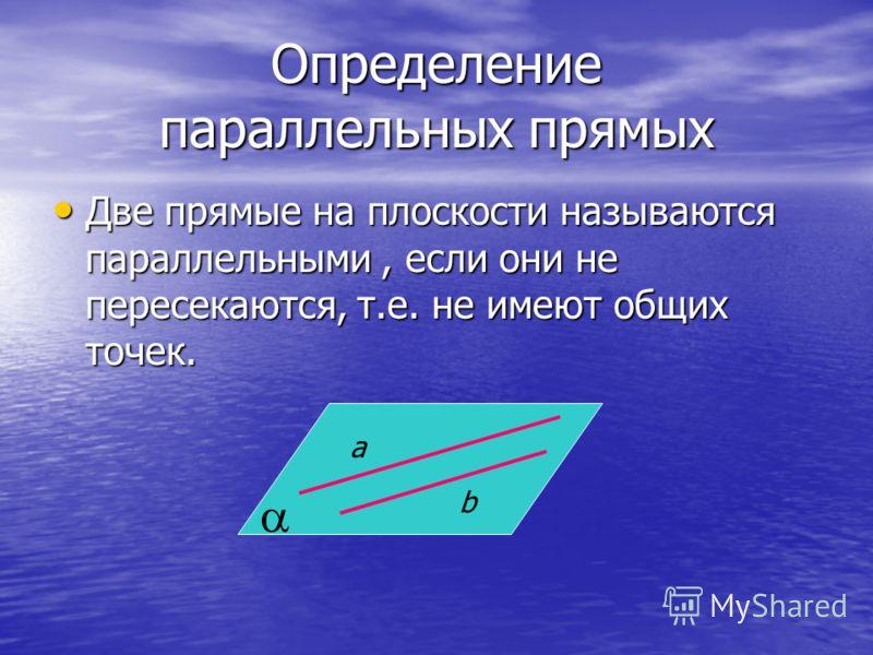 Определение параллельных прямых Две прямые на плоскости называются параллельными, если они не пересекаются, т.е. не имеют общих точек. a b