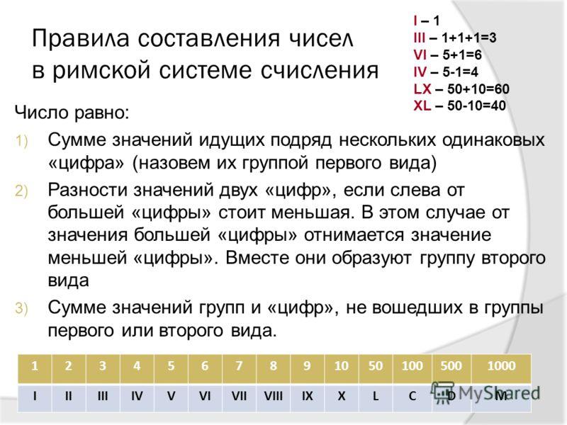 Правила составления чисел в римской системе счисления Число равно: 1) Сумме значений идущих подряд нескольких одинаковых «цифра» (назовем их группой первого вида) 2) Разности значений двух «цифр», если слева от большей «цифры» стоит меньшая. В этом с