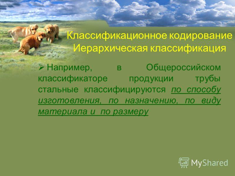 Например, в Общероссийском классификаторе продукции трубы стальные классифицируются по способу изготовления, по назначению, по виду материала и по размеру Классификационное кодирование Иерархическая классификация
