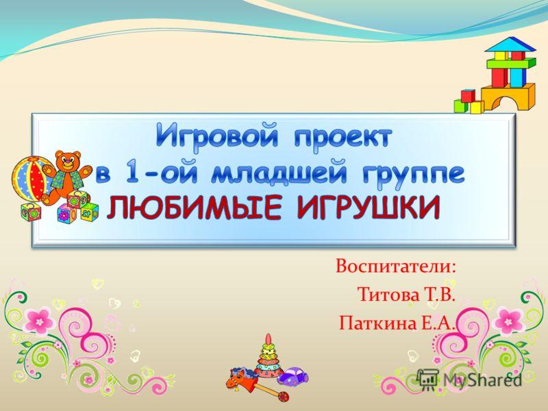 Воспитатели: Титова Т.В. Паткина Е.А.