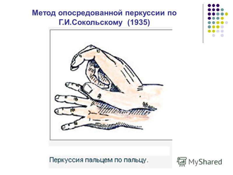 Метод опосредованной перкуссии по Г.И.Сокольскому (1935)