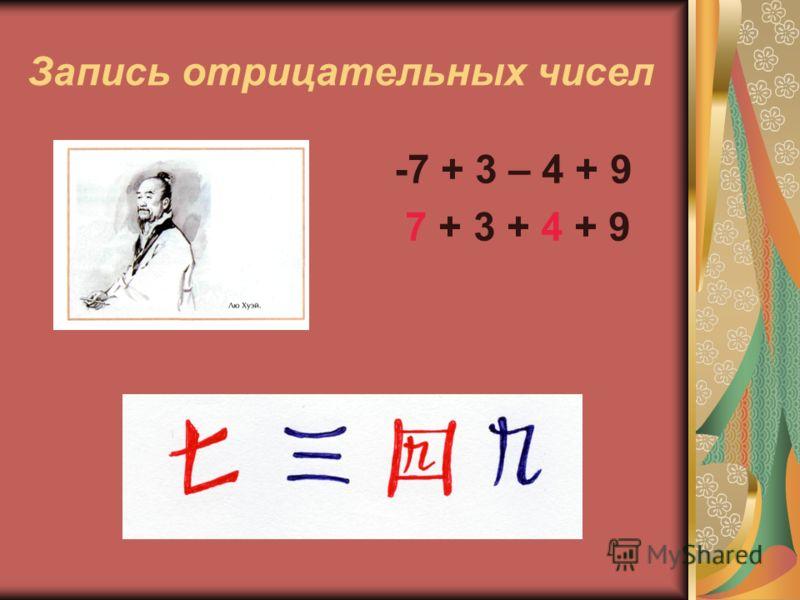 Запись отрицательных чисел -7 + 3 – 4 + 9 7 + 3 + 4 + 9