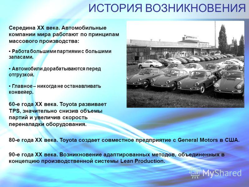 ИСТОРИЯ ВОЗНИКНОВЕНИЯ Середина XX века. Автомобильные компании мира работают по принципам массового производства: Работа большими партиями с большими запасами. Автомобили дорабатываются перед отгрузкой. Главное – никогда не останавливать конвейер. 60