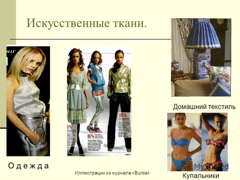 Искусственные ткани. Домашний текстиль Купальники О д е ж д а Иллюстрации из журнала «Burda»