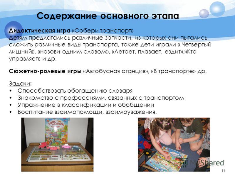 11 Дидактическая игра «Собери транспорт» Детям предлагались различные запчасти, из которых они пытались сложить различные виды транспорта, также дети играли « Четвертый лишний», «назови одним словом», «Летает, плавает, ездит»,»Кто управляет» и др. Сю
