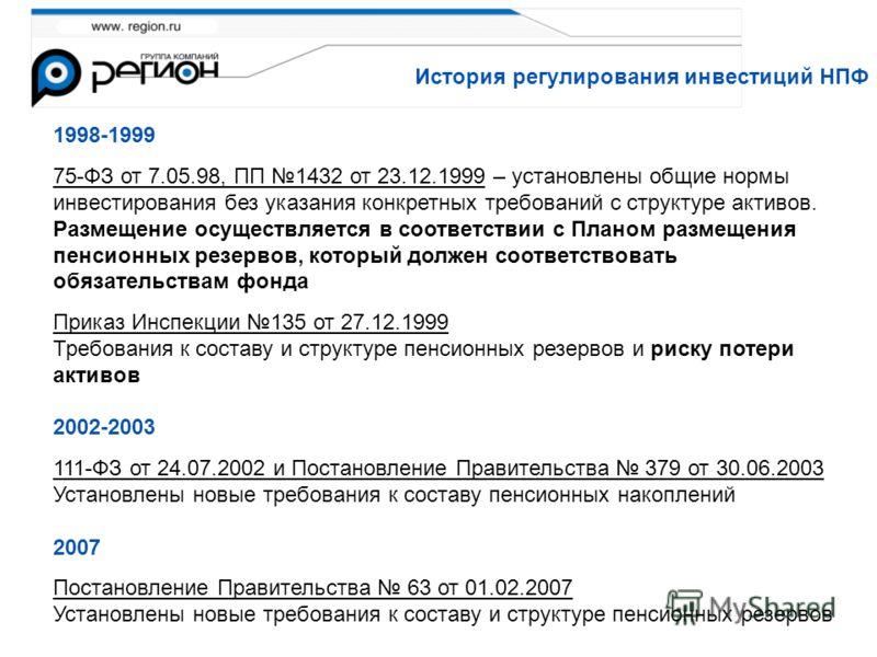 История регулирования инвестиций НПФ 1998-1999 75-ФЗ от 7.05.98, ПП 1432 от 23.12.1999 – установлены общие нормы инвестирования без указания конкретных требований с структуре активов. Размещение осуществляется в соответствии с Планом размещения пенси