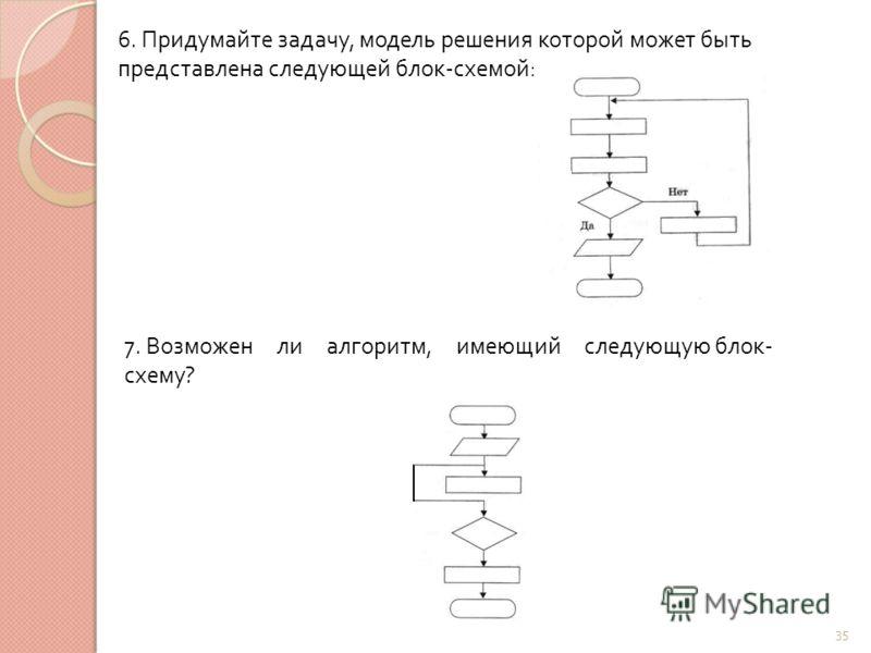 35 6. Придумайте задачу, модель решения которой может быть представлена следующей блок - схемой : 7. Возможен ли алгоритм, имеющий следующую блок - схему ?