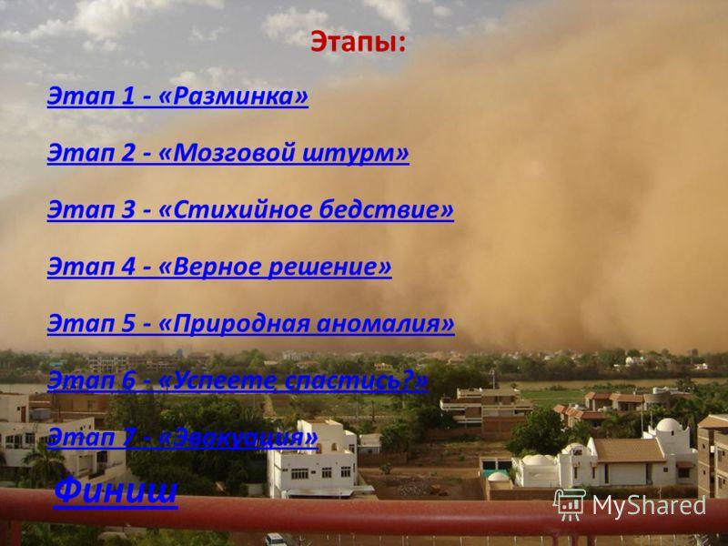 Этапы: Этап 1 - «Разминка» Этап 2 - «Мозговой штурм» Этап 3 - «Стихийное бедствие» Этап 4 - «Верное решение» Этап 5 - «Природная аномалия» Этап 6 - «Успеете спастись?» Этап 7 - «Эвакуация» Финиш