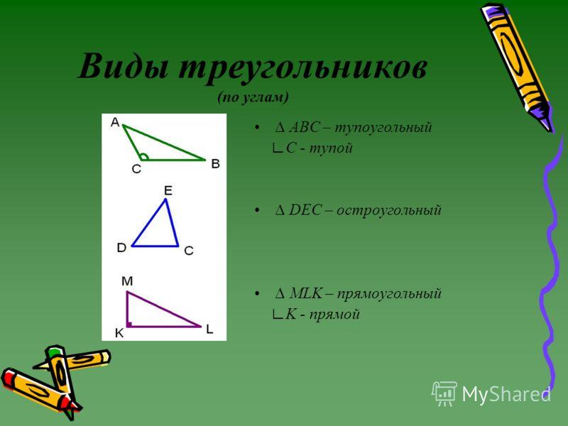 Виды треугольников (по углам) ABC – тупоугольный C - тупой DEC – остроугольный MLK – прямоугольный K - прямой