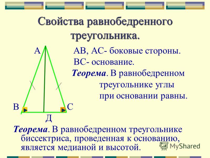 Свойство равнобедренного треугольника С М1 А М2 М3 В Медианы, высоты и биссектрисы равнобедренного треугольника соединяются в одной точке