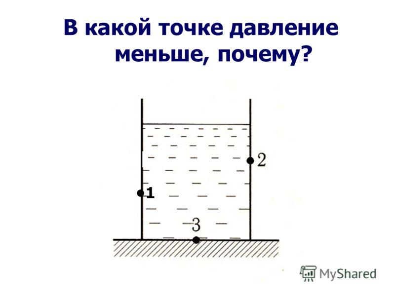 В какой точке давление меньше, почему? 1 1