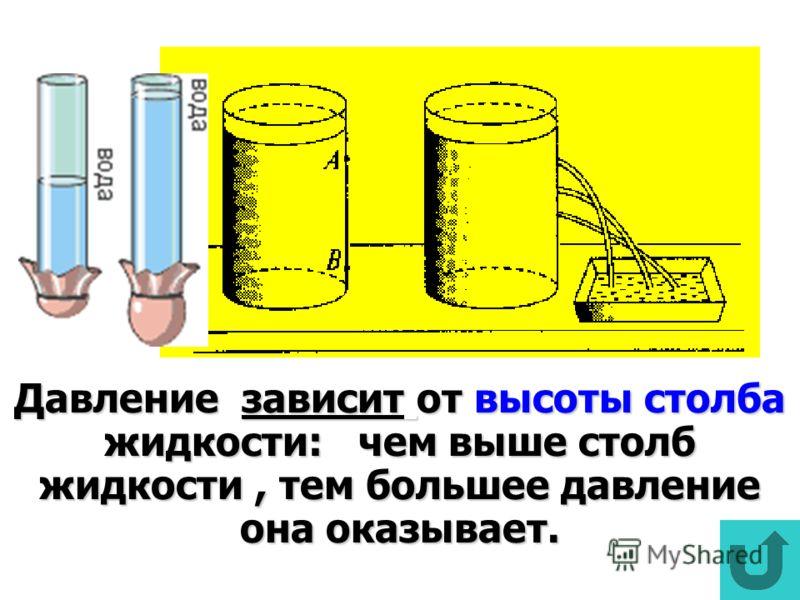 Давление зависит от высоты столба жидкости: чем выше столб жидкости, тем большее давление она оказывает.