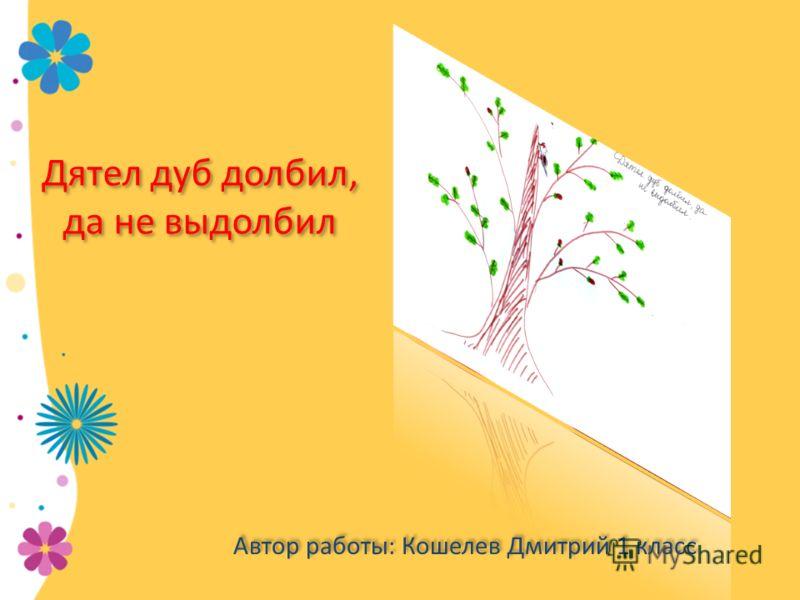 Дятел дуб долбил, да не выдолбил Автор работы: Кошелев Дмитрий 1 класс