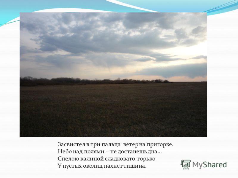Засвистел в три пальца ветер на пригорке. Небо над полями – не достанешь дна… Спелою калиной сладковато-горько У пустых околиц пахнет тишина.
