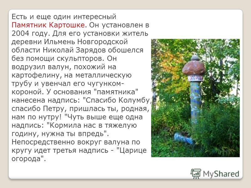 Есть и еще один интересный Памятник Картошке. Он установлен в 2004 году. Для его установки житель деревни Ильмень Новгородской области Николай Зарядов обошелся без помощи скульпторов. Он водрузил валун, похожий на картофелину, на металлическую трубу