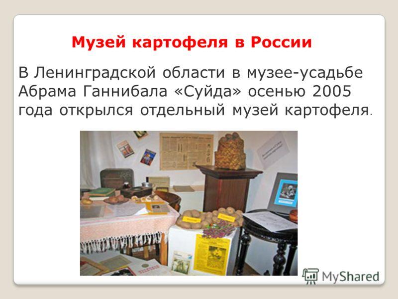 Музей картофеля в России В Ленинградской области в музее-усадьбе Абрама Ганнибала «Суйда» осенью 2005 года открылся отдельный музей картофеля.