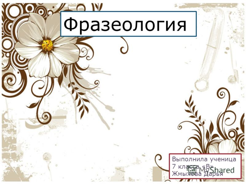 Фразеология Выполнила ученица 7 класса «В» Жмыхова Дарья