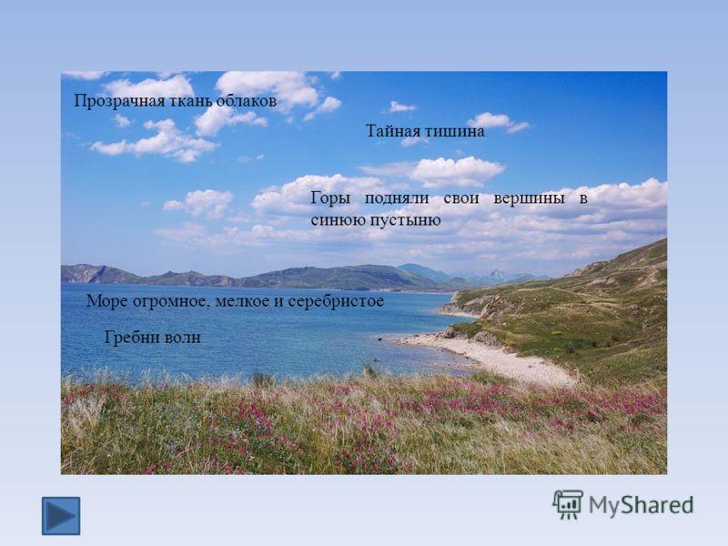 Горы подняли свои вершины в синюю пустыню Прозрачная ткань облаков Гребни волн Море огромное, мелкое и серебристое Тайная тишина
