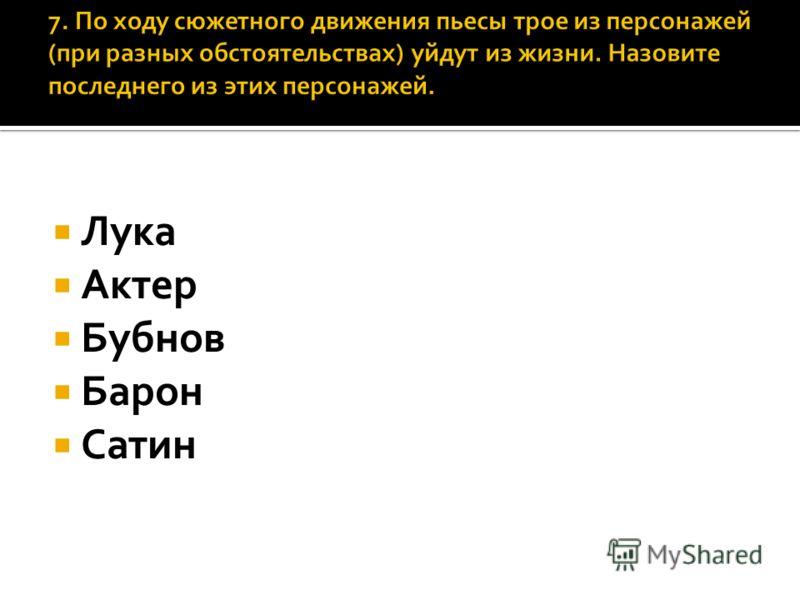 Лука Актер Бубнов Барон Сатин
