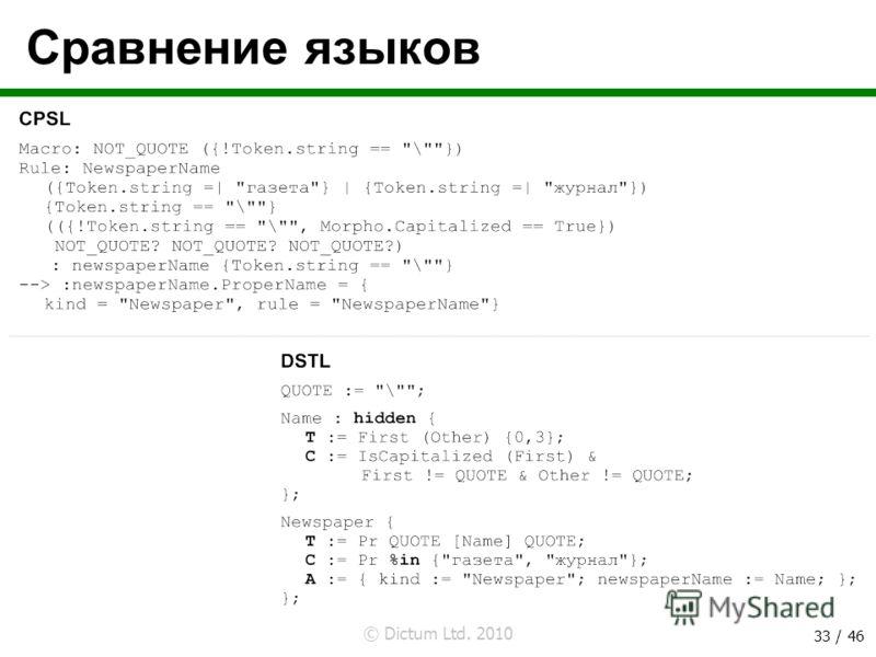 © Dictum Ltd. 2010 33 / 46 Сравнение языков