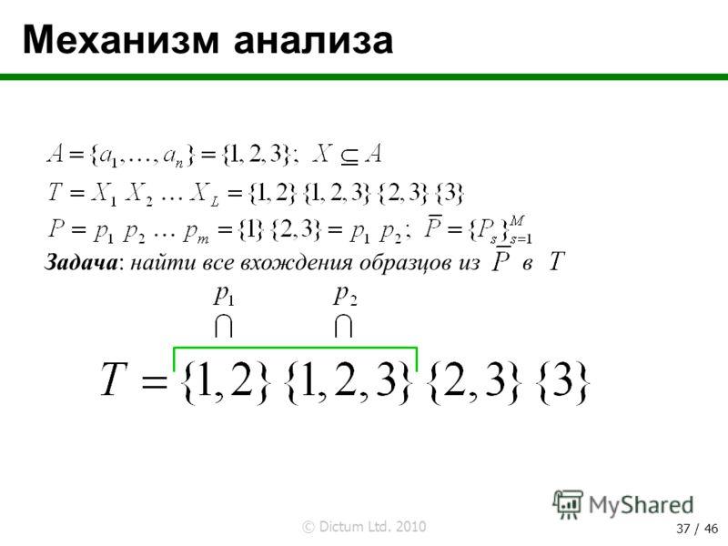 © Dictum Ltd. 2010 37 / 46 Механизм анализа Задача: найти все вхождения образцов из в