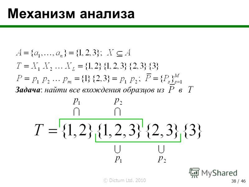 © Dictum Ltd. 2010 38 / 46 Механизм анализа Задача: найти все вхождения образцов из в