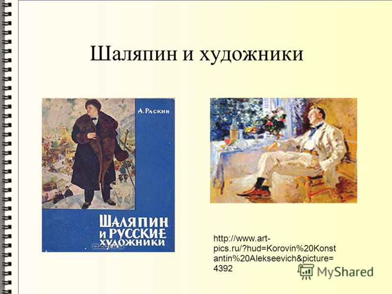 Шаляпин и художники http://www.art- pics.ru/?hud=Korovin%20Konst antin%20Alekseevich&picture= 4392