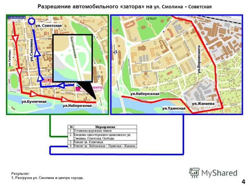 4 Разрешение автомобильного «затора» на ул. Смолина - Советская Результат: 1. Разгрузка ул. Смолина и центра города.