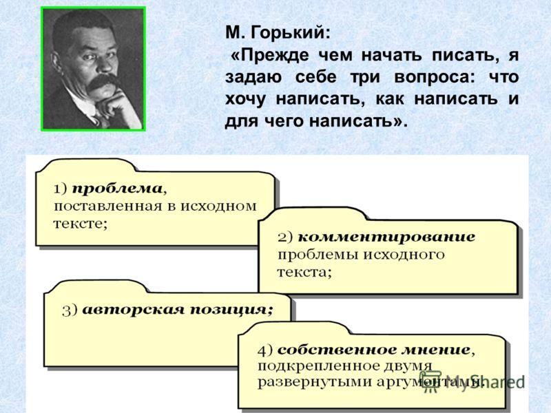 М. Горький: «Прежде чем начать писать, я задаю себе три вопроса: что хочу написать, как написать и для чего написать».