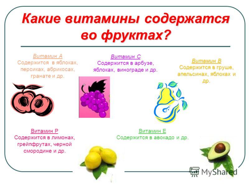 Какие витамины содержатся во фруктах? Витамин А Содержится в яблоках, персиках, абрикосах, гранате и др. Витамин С Содержится в арбузе, яблоках, винограде и др. Витамин В Содержится в груше, апельсинах, яблоках и др. Витамин Р Содержится в лимонах, г