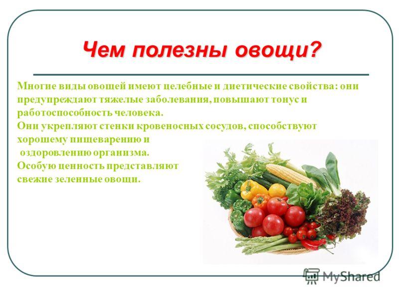 Чем полезны овощи? Многие виды овощей имеют целебные и диетические свойства: они предупреждают тяжелые заболевания, повышают тонус и работоспособность человека. Они укрепляют стенки кровеносных сосудов, способствуют хорошему пищеварению и оздоровлени