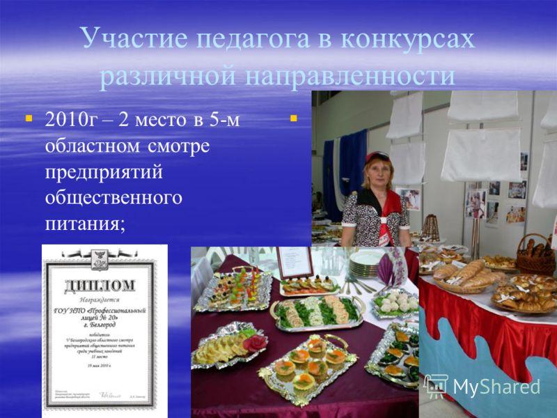 Участие педагога в конкурсах различной направленности 2010г – 2 место в 5-м областном смотре предприятий общественного питания;