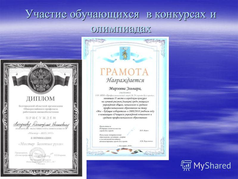 Участие обучающихся в конкурсах и олимпиадах