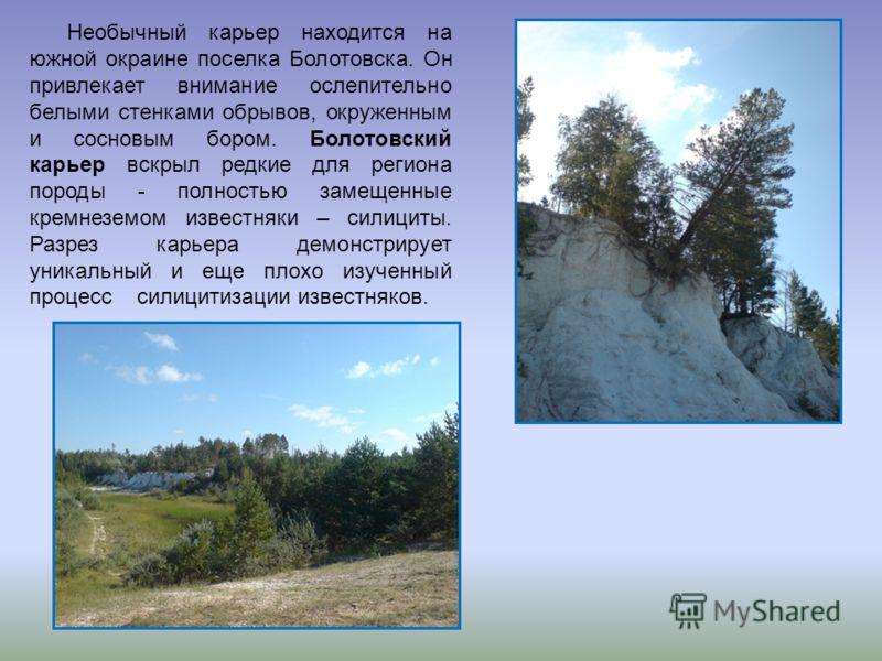 Необычный карьер находится на южной окраине поселка Болотовска. Он привлекает внимание ослепительно белыми стенками обрывов, окруженным и сосновым бором. Болотовский карьер вскрыл редкие для региона породы - полностью замещенные кремнеземом известняк