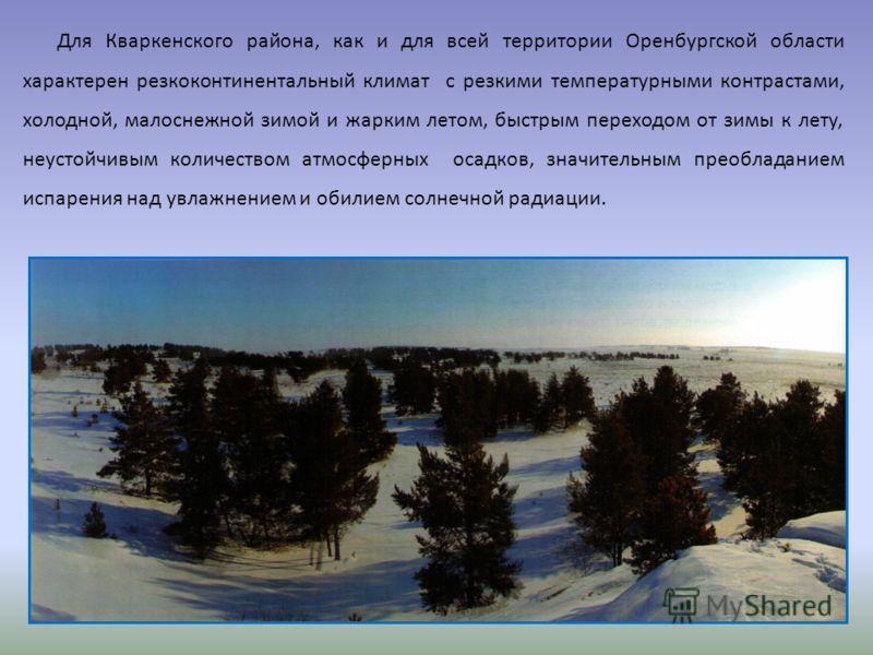 Для Кваркенского района, как и для всей территории Оренбургской области характерен резкоконтинентальный климат с резкими температурными контрастами, холодной, малоснежной зимой и жарким летом, быстрым переходом от зимы к лету, неустойчивым количество