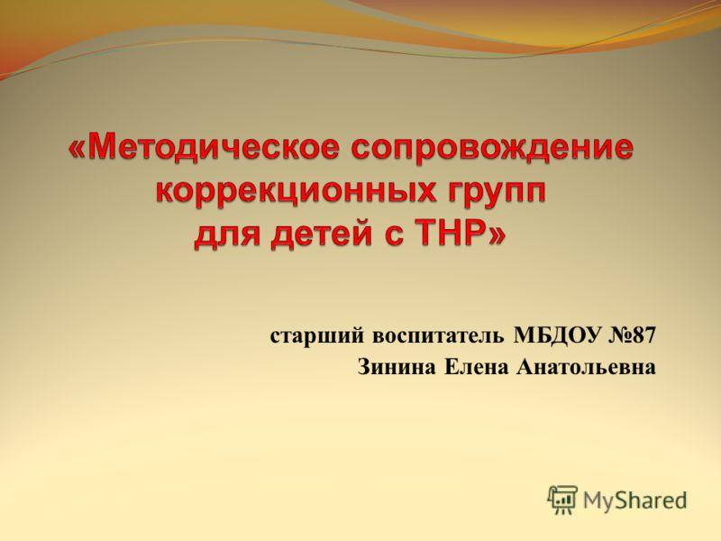 старший воспитатель МБДОУ 87 Зинина Елена Анатольевна