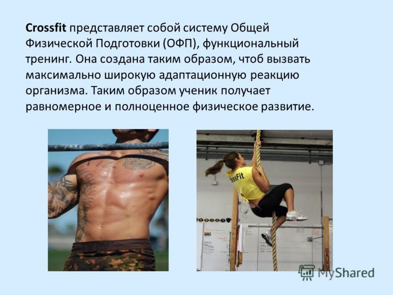 Crossfit представляет собой систему Общей Физической Подготовки (ОФП), функциональный тренинг. Она создана таким образом, чтоб вызвать максимально широкую адаптационную реакцию организма. Таким образом ученик получает равномерное и полноценное физиче