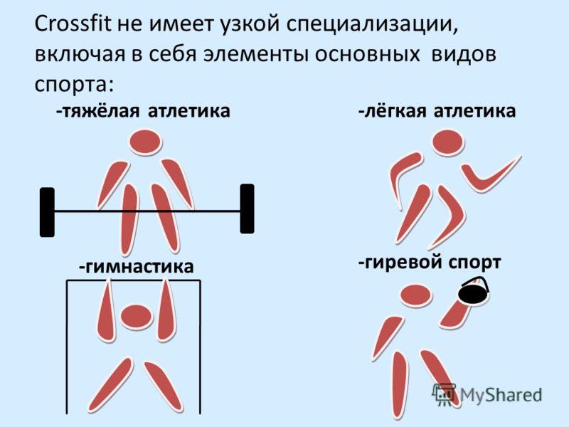 Crossfit не имеет узкой специализации, включая в себя элементы основных видов спорта: -тяжёлая атлетика-лёгкая атлетика -гимнастика -гиревой спорт