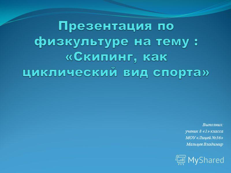 Выполнил: ученик 8 «1» класса МОУ «Лицей 36» Мальцев Владимир