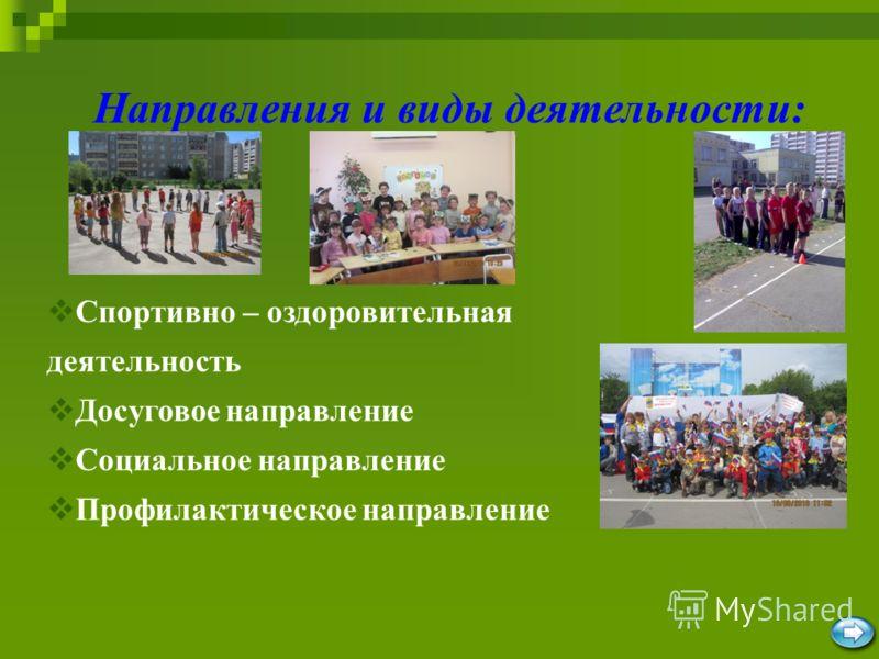 Направления и виды деятельности: Спортивно – оздоровительная деятельность Досуговое направление Социальное направление Профилактическое направление