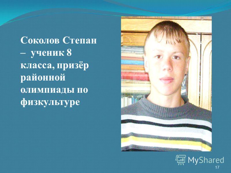 Соколов Степан – ученик 8 класса, призёр районной олимпиады по физкультуре 17
